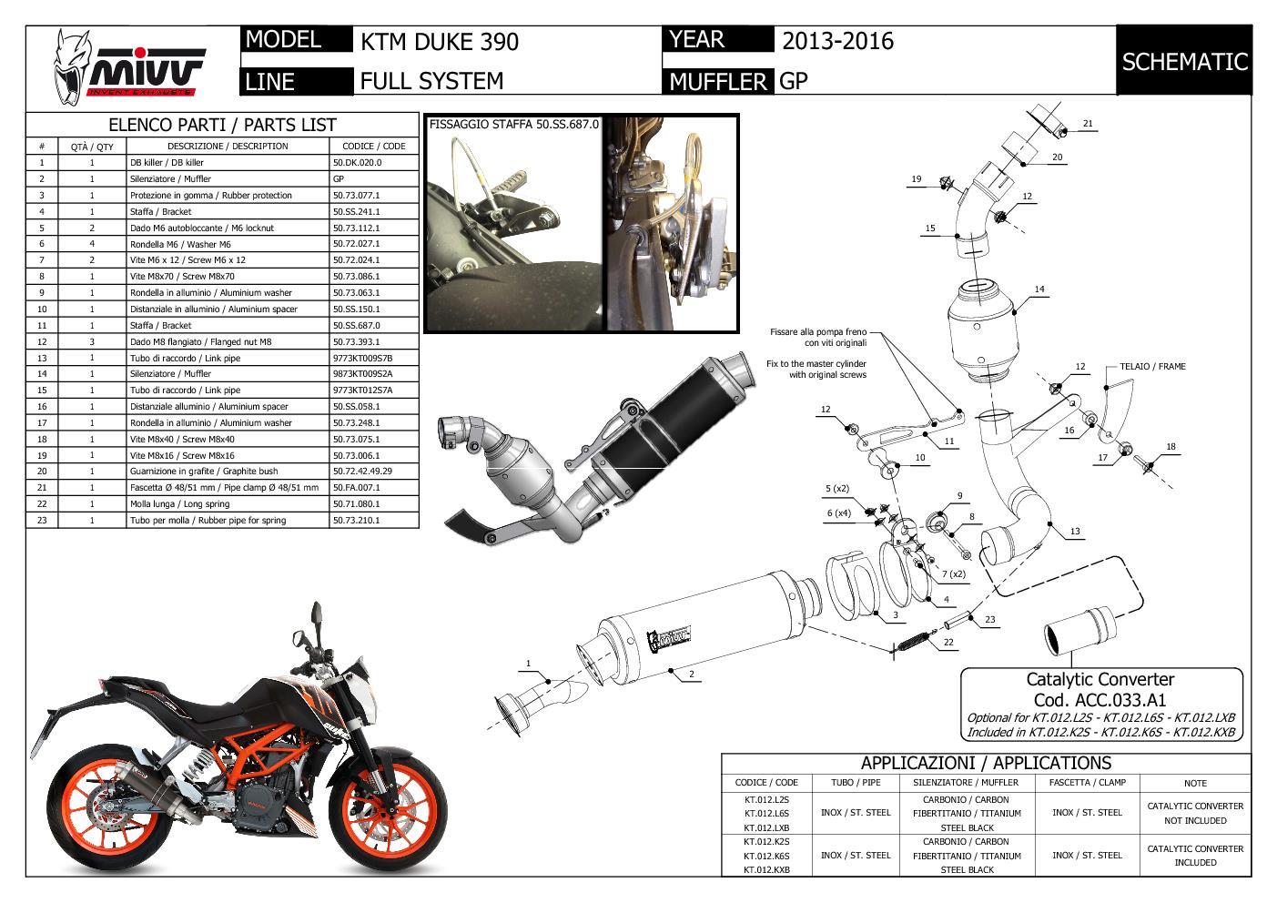 FULL SYSTEM EXHAUST MIVV GP BLACK STEEL KTM 390 DUKE 2016