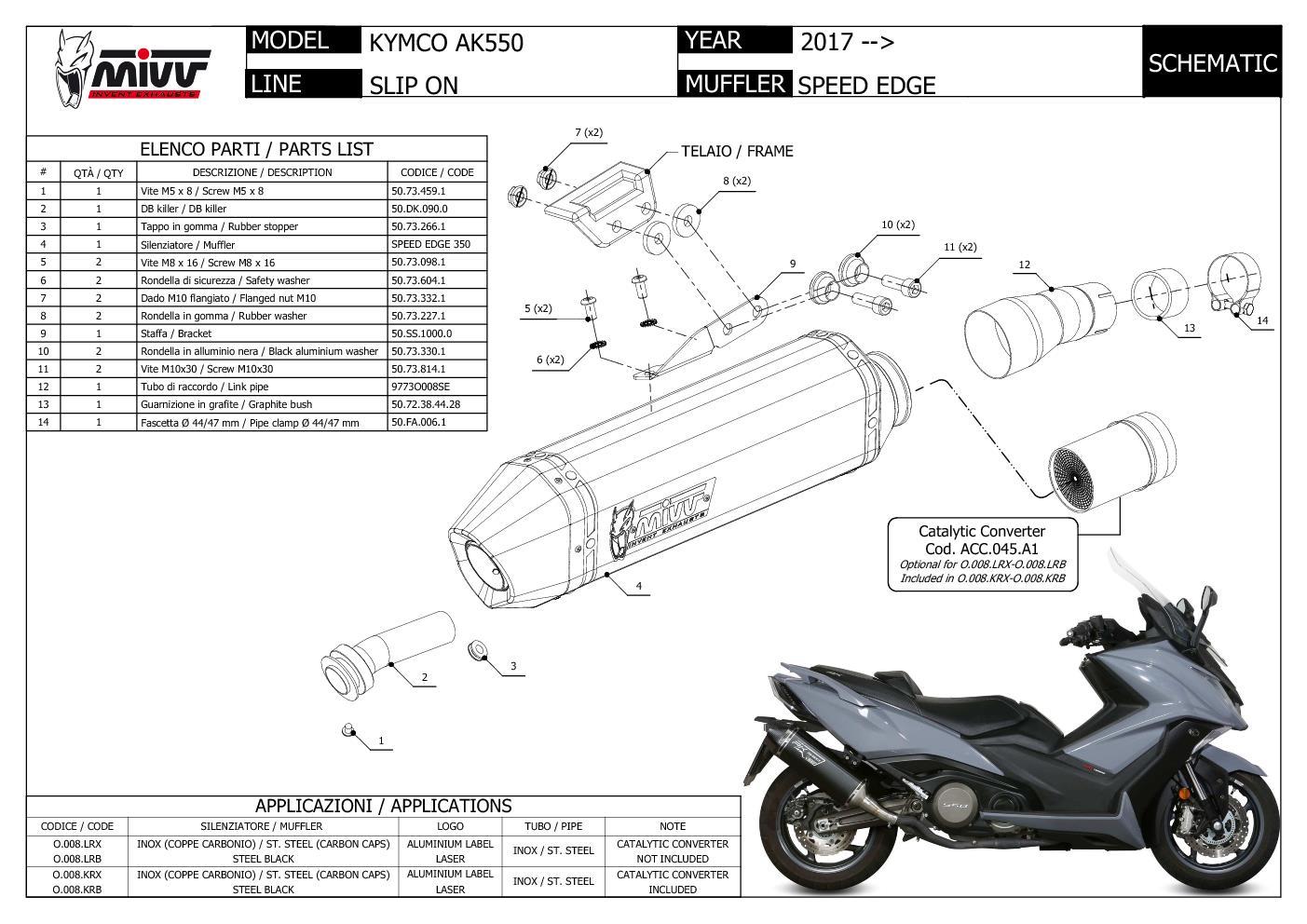 Mivv Exhaust Muffler Speed Edge Black Stainless Steel