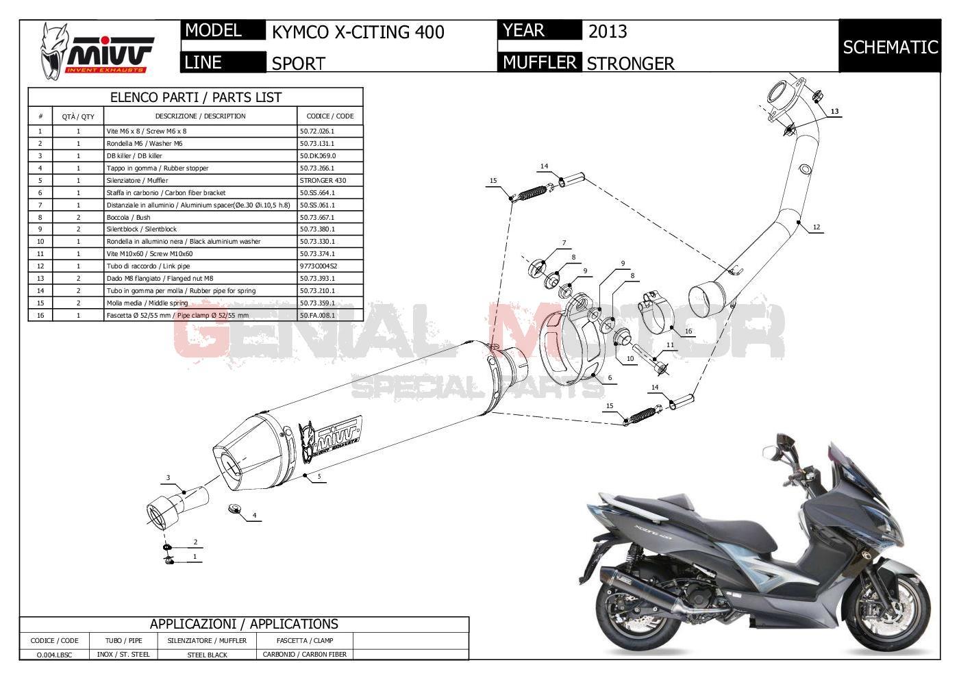 Mivv Complete Exhaust Stronger Black Inox black for KYMCO