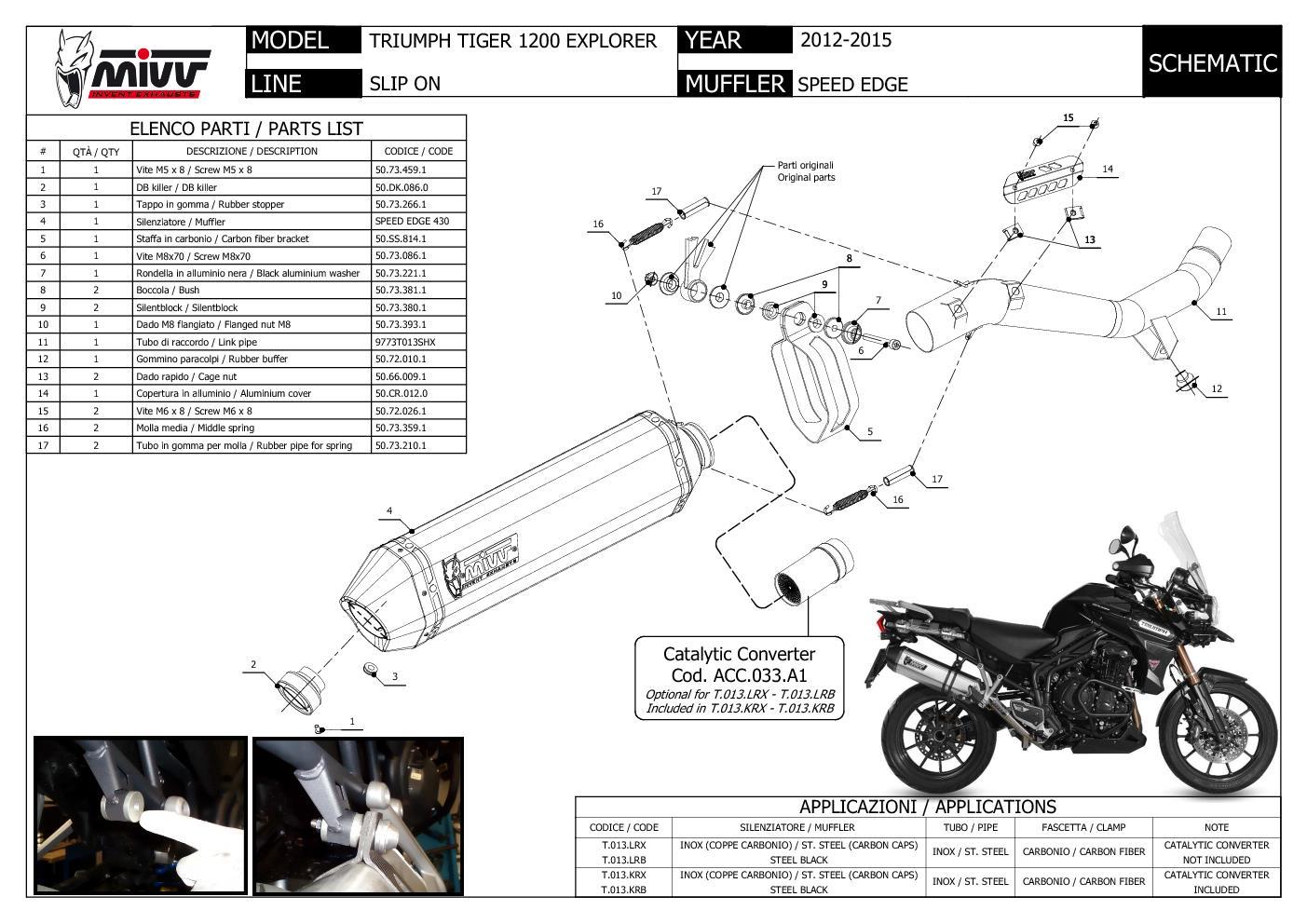 Mivv Exhaust Muffler Speed Edge Black Triumph Tiger