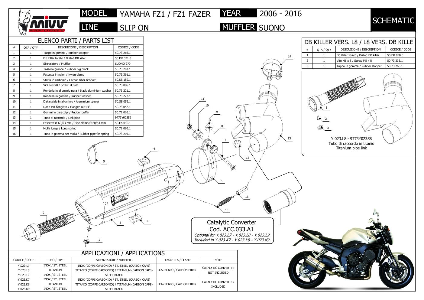 Escape Silenciador MIVV Suono Titanio para Yamaha Fz1 Fz1