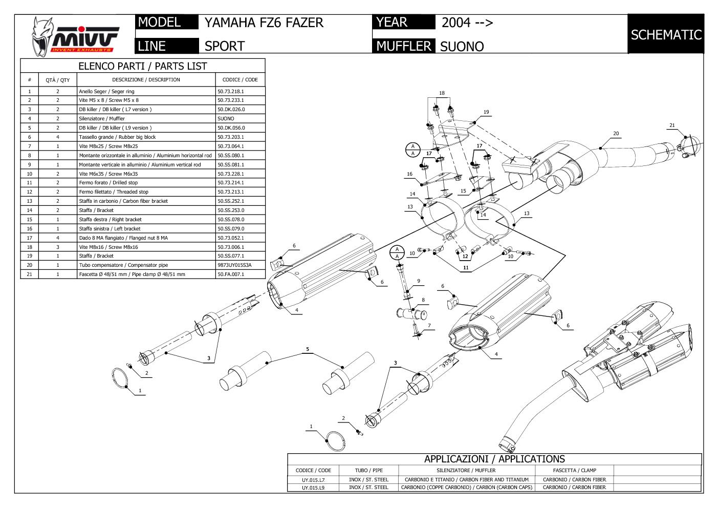 2 Pot D Echappament Cat MIVV Suono Noir ss pour Yamaha Fz6