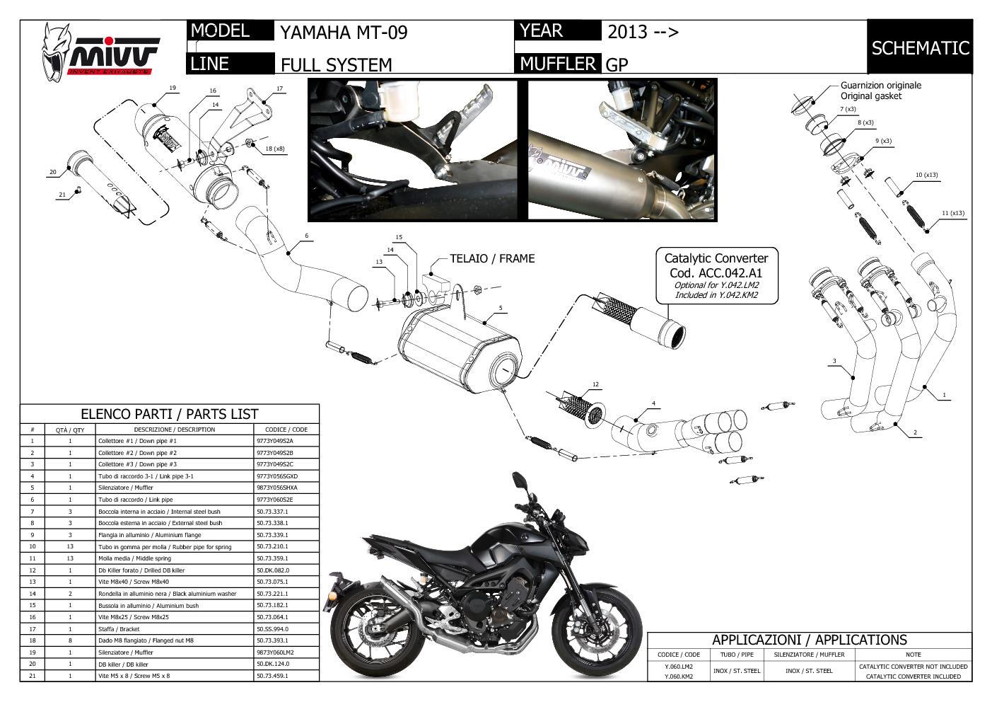 Komplette Auspuffanlage MIVV M2 Edelstahl fur Yamaha Mt 09