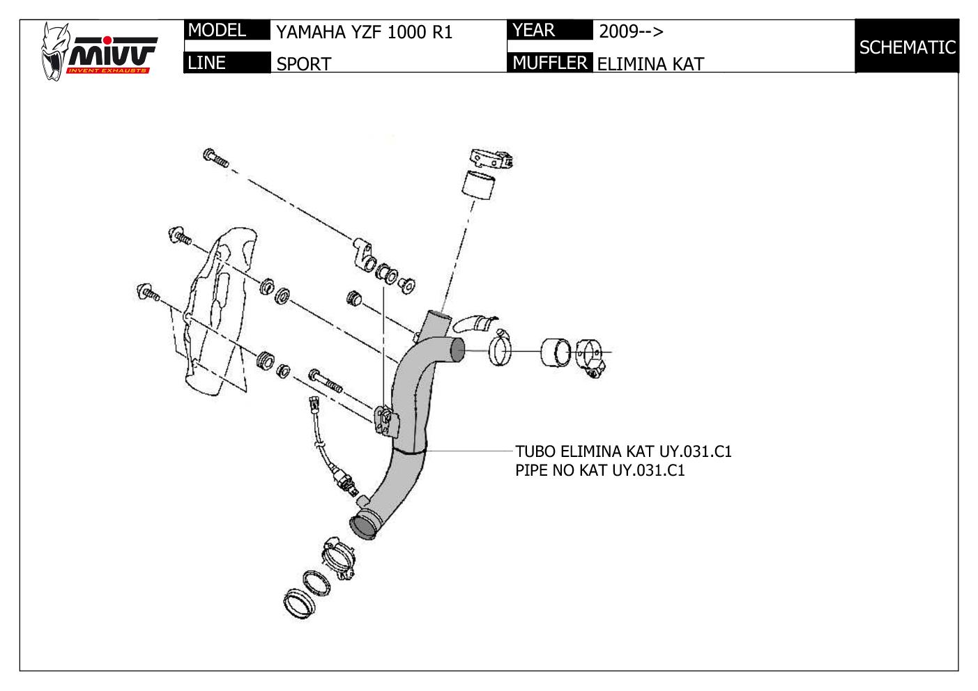 Mivv No Kat Link Pipe Downpipe Stainless Steel Yamaha Yzf