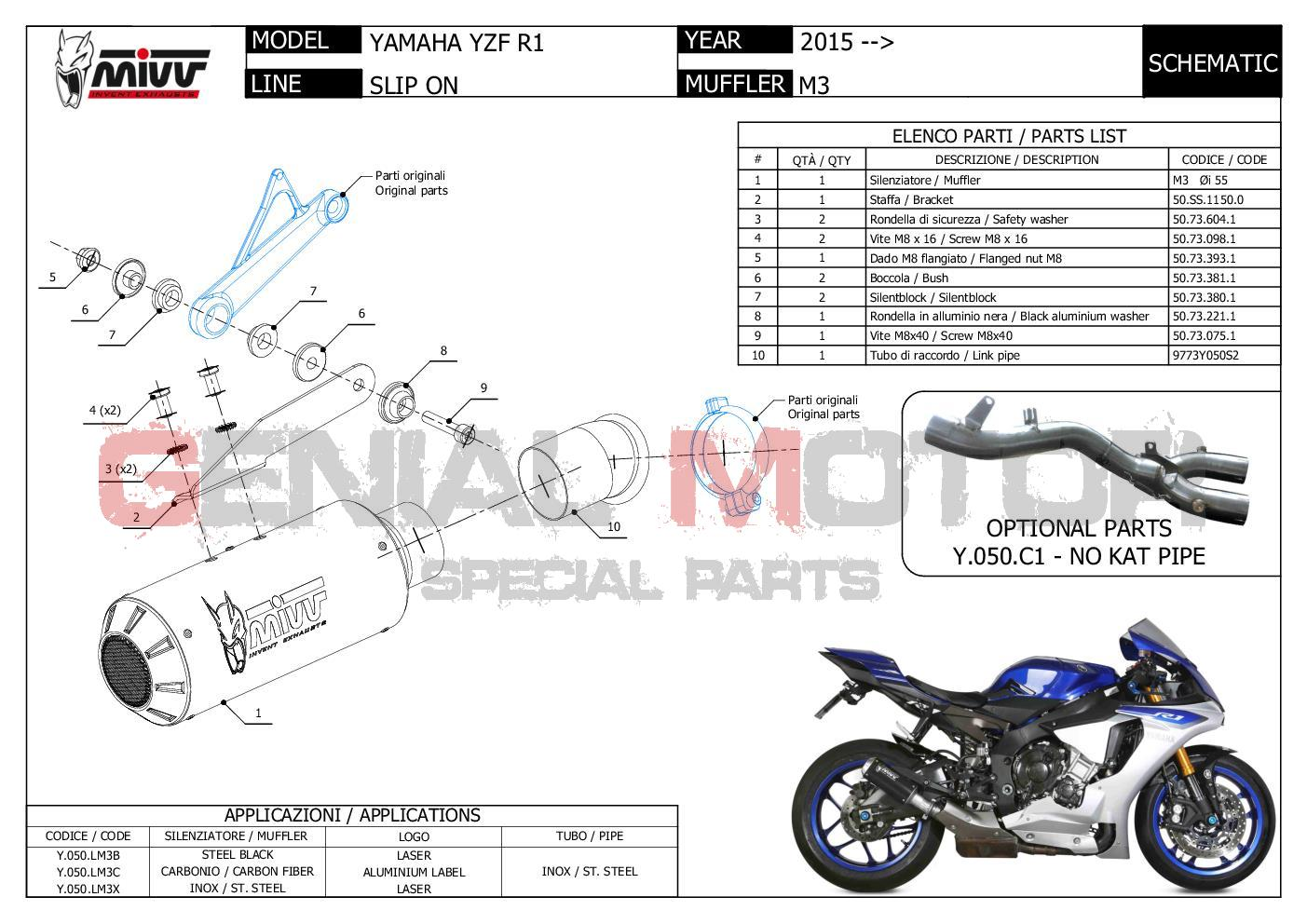 Mivv Approved Exhaust Muffler M3 Steel for YAMAHA YZF 1000