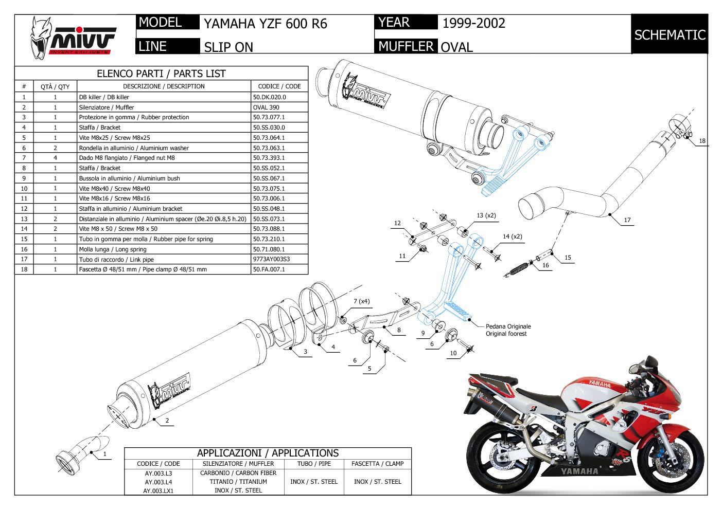 Mivv Exhaust Muffler Oval Carbon Fiber High for Yamaha Yzf