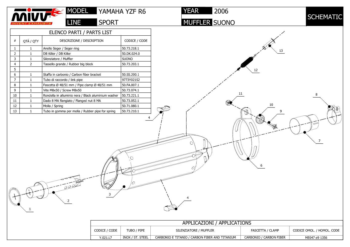 Mivv Exhaust Muffler Suono Stainless Steel for Yamaha Yzf