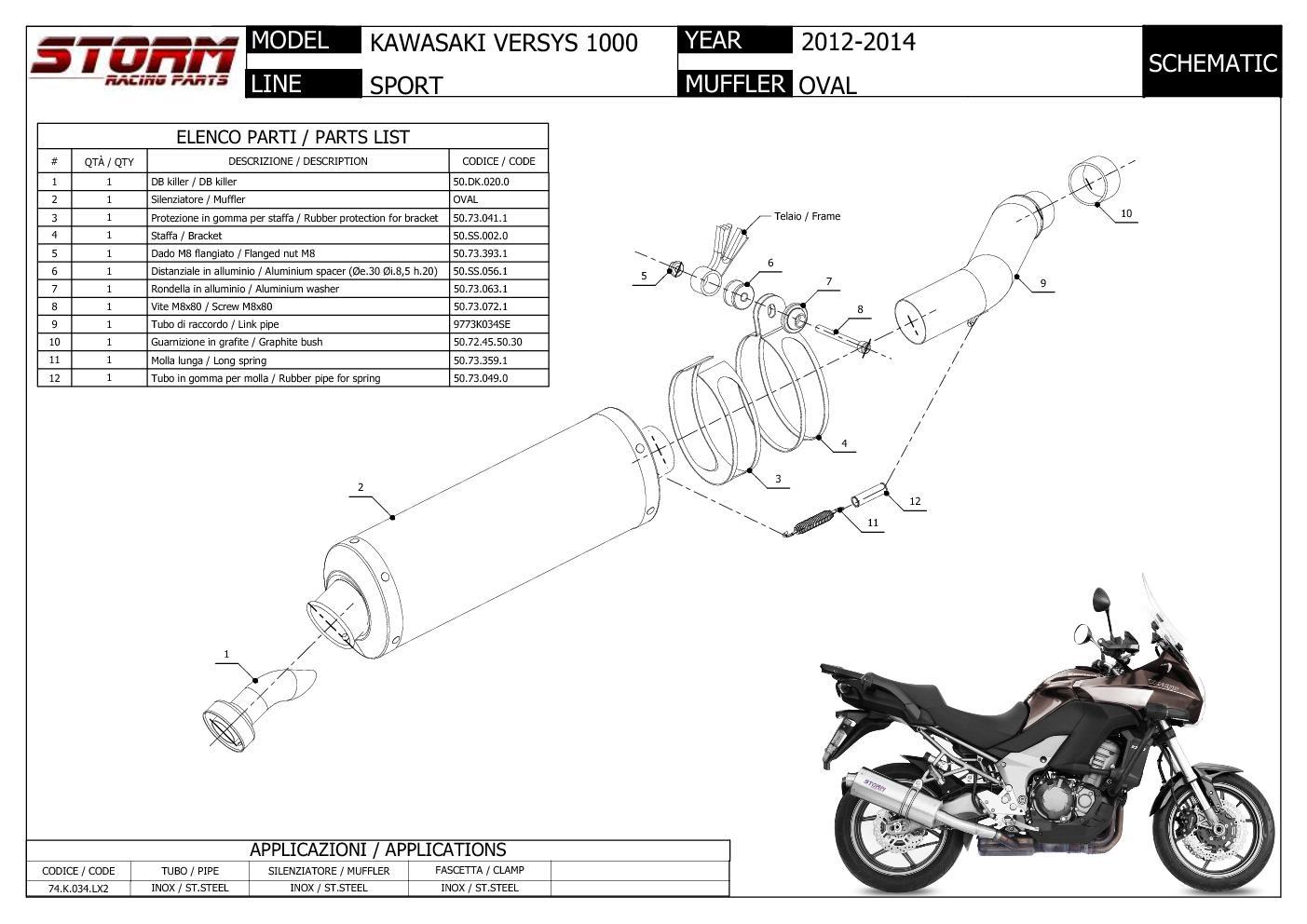 Exhaust Storm by Mivv Muffler Oval Steel for Kawasaki