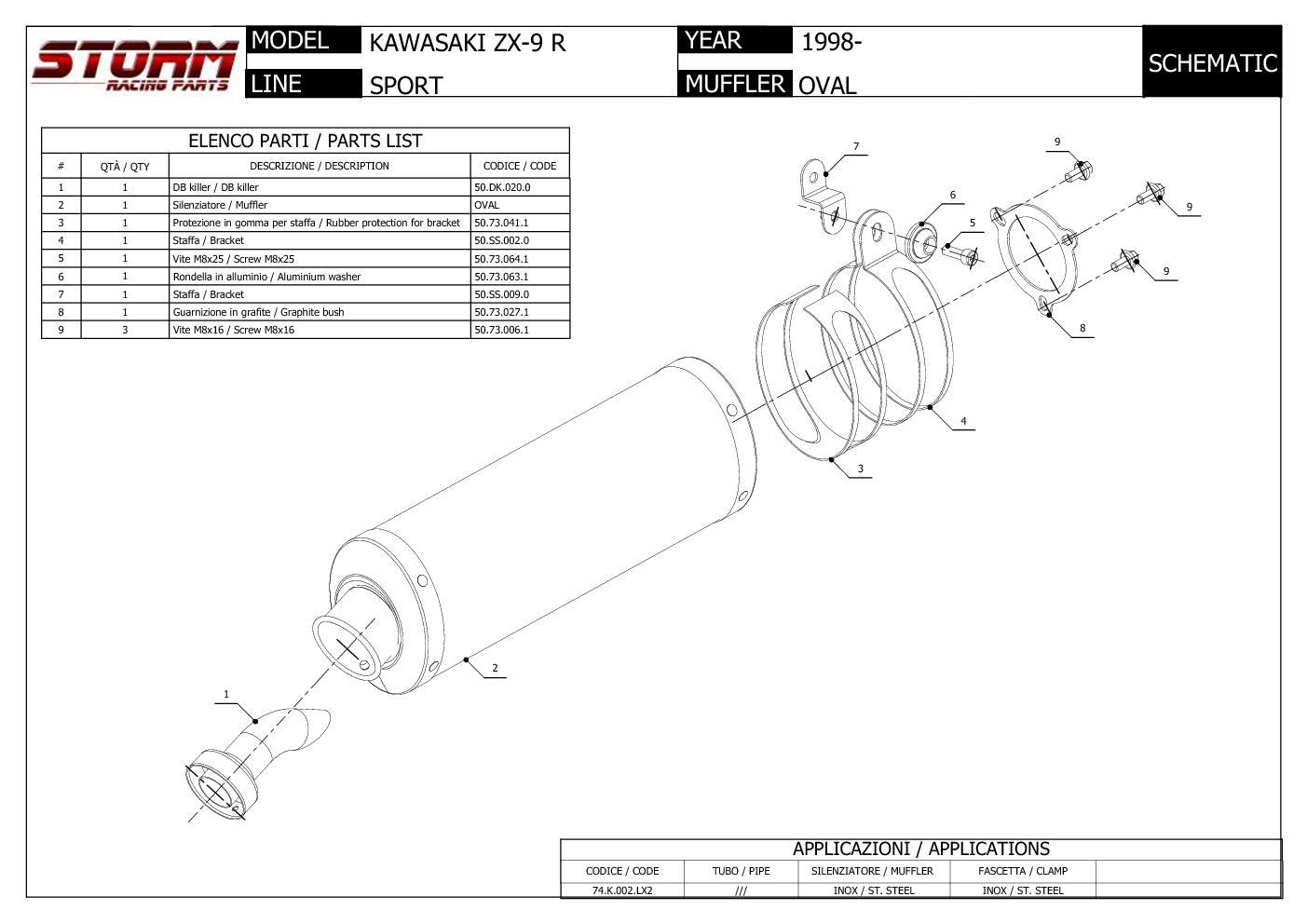 Exhaust Storm by Mivv Muffler Oval Nero Steel for Kawasaki