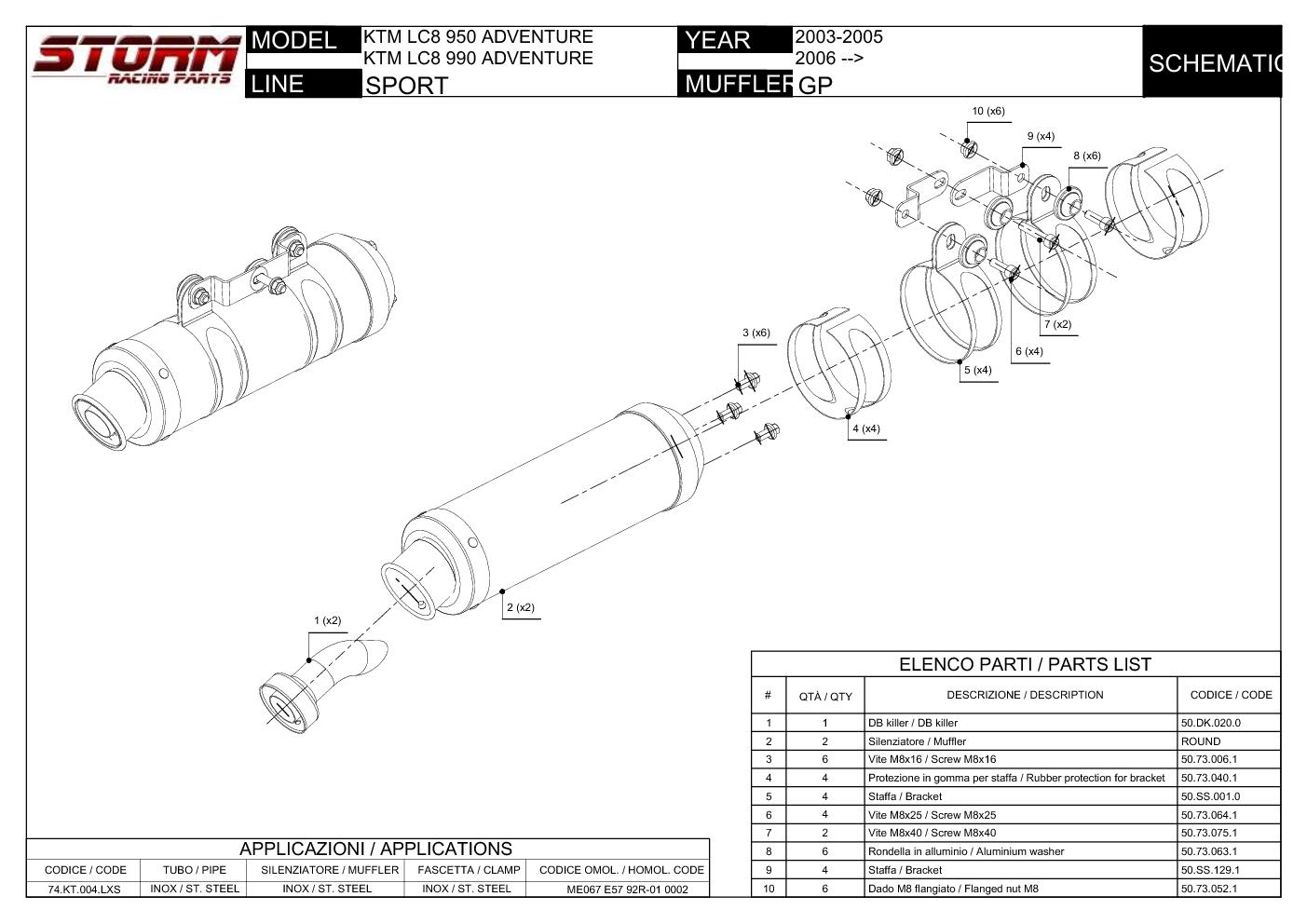 Exhaust Storm by Mivv Mufflers Gp Steel for Ktm Lc8 990