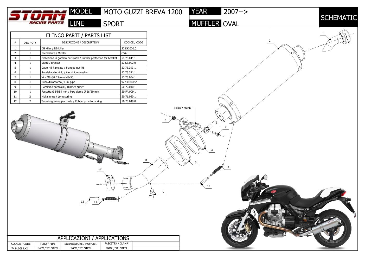 Exhaust Storm by Mivv Muffler Oval Steel for Moto Guzzi