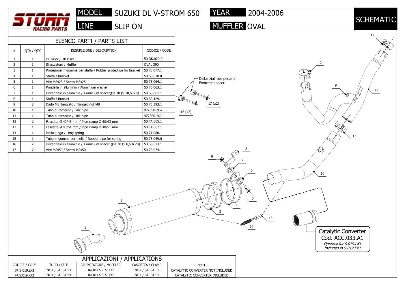 Exhaust Storm by Mivv Muffler Oval Nero Steel Suzuki Dl V