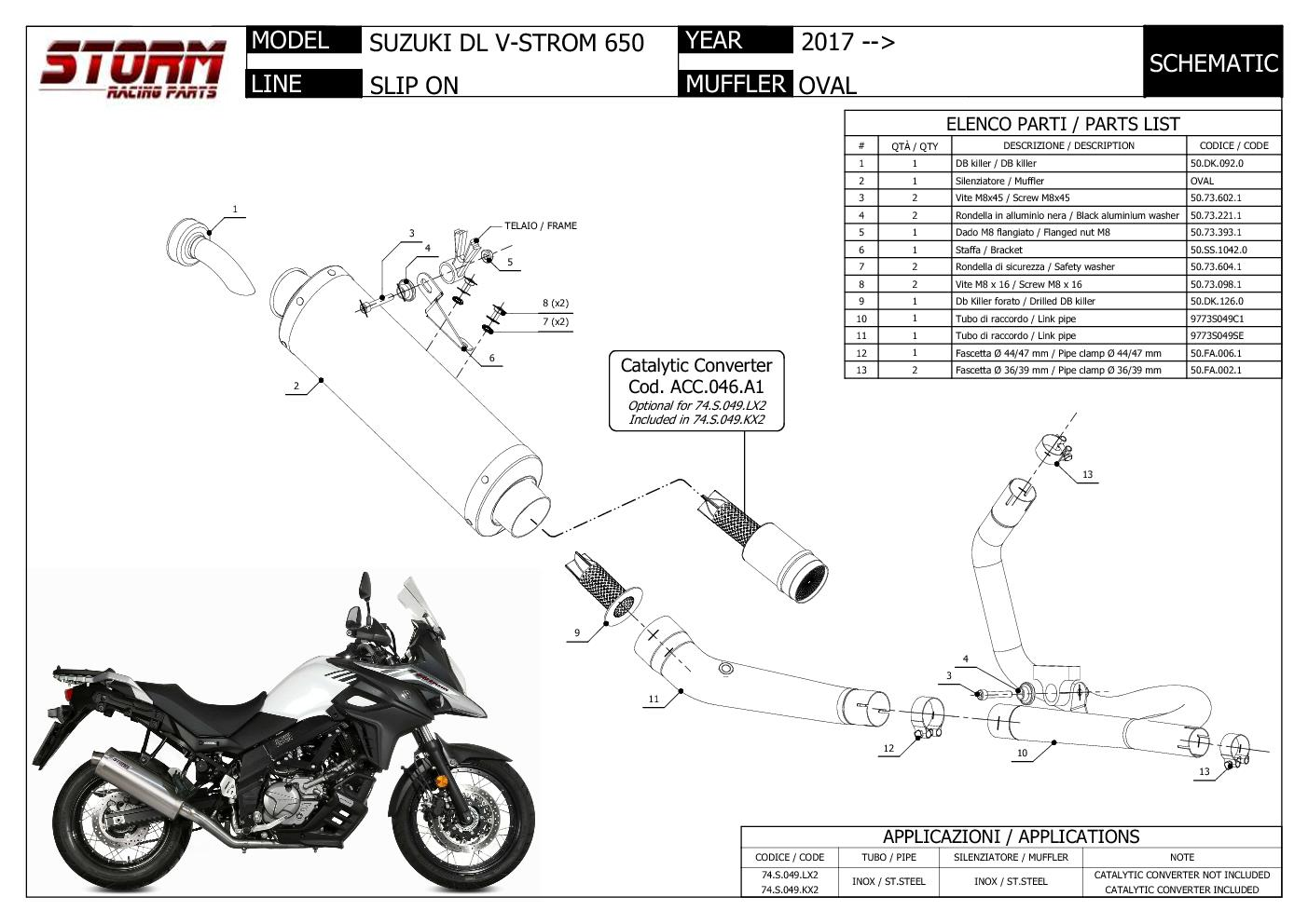 Exhaust Storm by Mivv Muffler Oval Steel for Suzuki Dl V