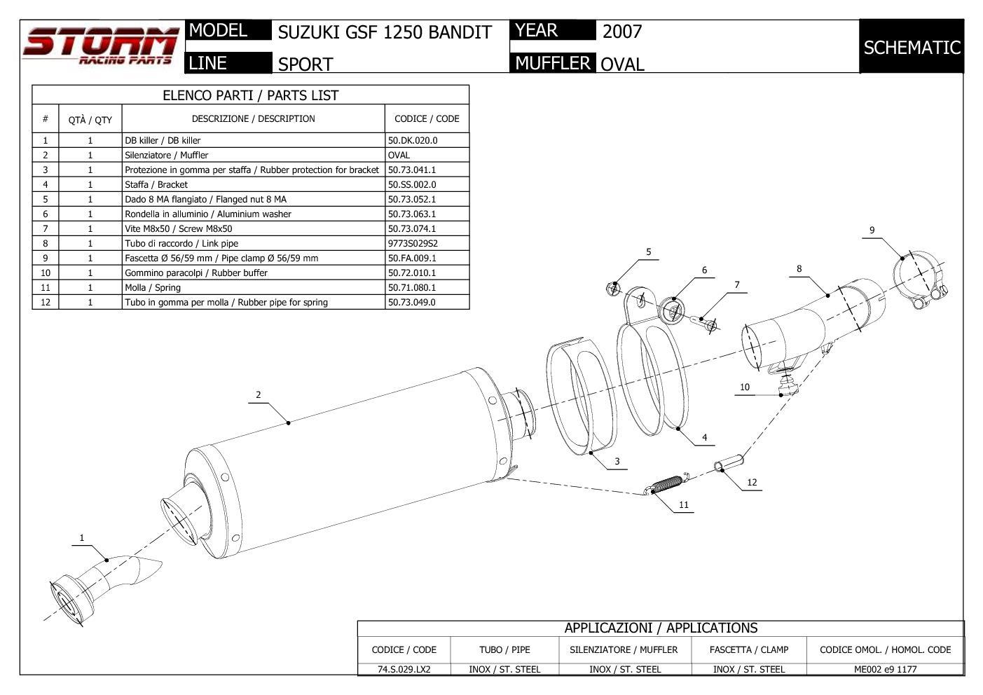 Exhaust Storm by Mivv Muffler Oval Steel for Suzuki Gsf