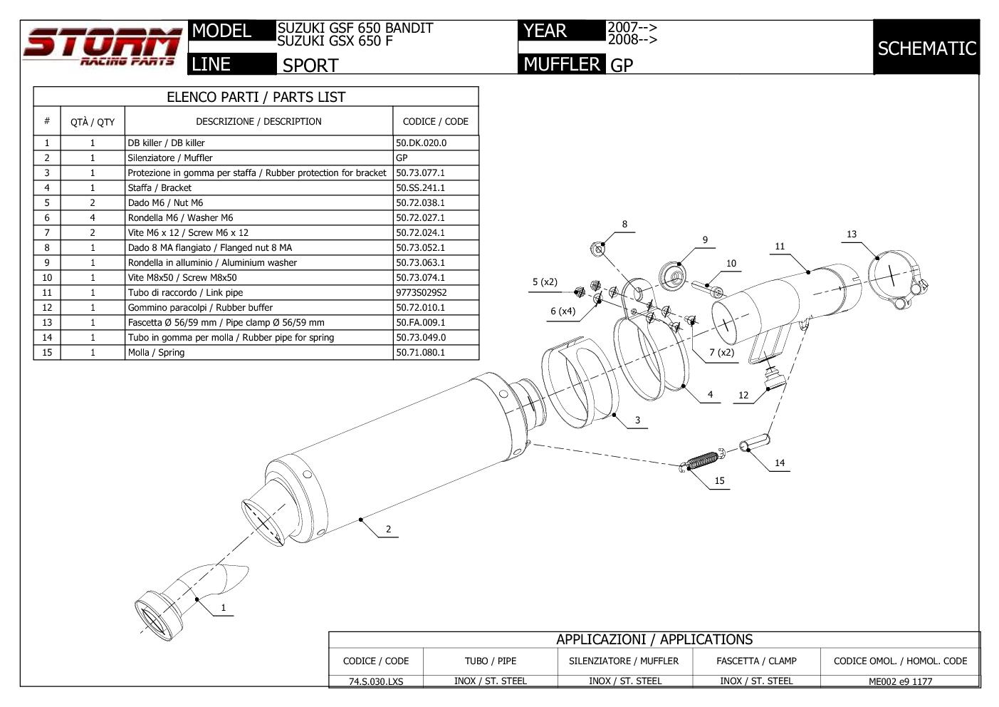 Exhaust Storm by Mivv Muffler Gp Steel for Suzuki Gsf 650