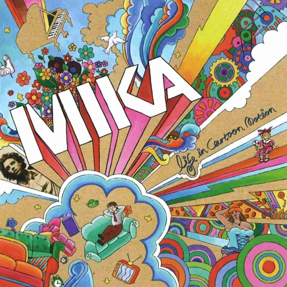 "Colour full cartoon of rainbow, people, birds, pianos, couches and more. ""Mika"" Album Cover - Inspiring Songs that Encourage"