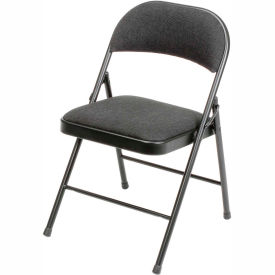 folding chair fabric big and tall desk staples chairs steel with padded black pkg qty 4 607864bk globalindustrial com