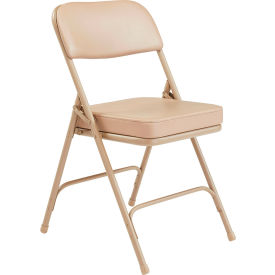 steel vinyl chair cover rentals las vegas chairs folding national public seating 2 seat double brace beige