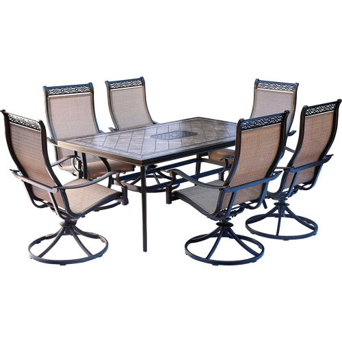 hanover monaco 7 piece patio dining set with 6 sling swivel rockers and a tile top dining table