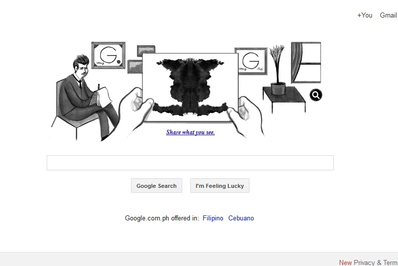 Google pays tribute to psychiatrist Rorschach with inkblot