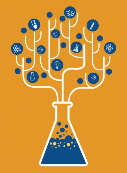 Kimia Latar Belakang Datar Pohon Hiasan Laboratorium Botol