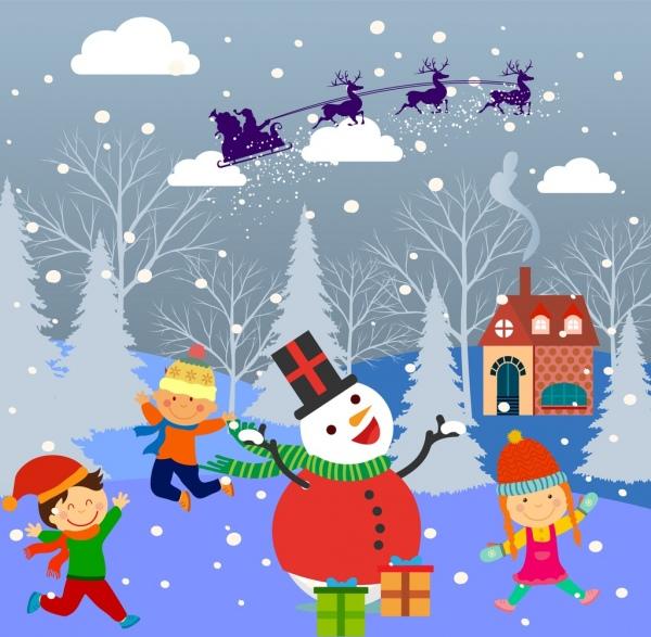 Abstrak Wallpaper Hd Anak Anak Desain Latar Belakang Natal Dan Salju Dekorasi