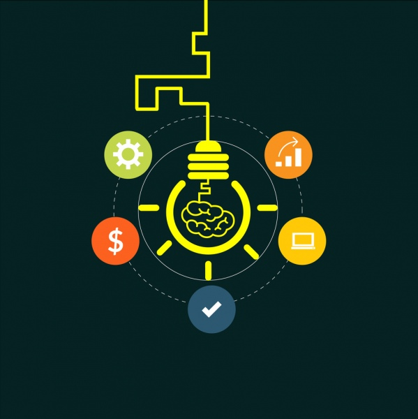 Ide Kreatif Konsep Warnawarni Ikon Dan Bola Lampu Sketsa
