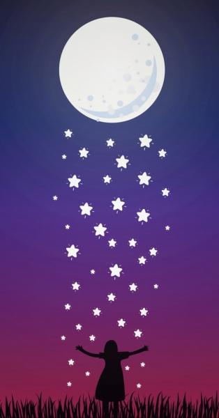 Dream Background Full Moon Falling Star Girl Icons Vector