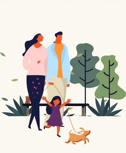 Keluarga Orang Tua Gambar Putri Ikon Kartun Desainvektor