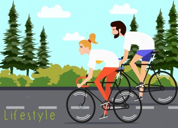 Gaya Hidup Sehat Banner Pasangan Naik Sepeda Kartun