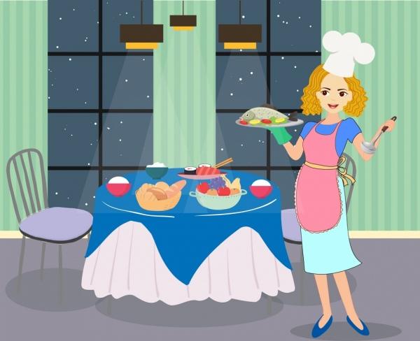 Mujer Dibujo De Ama De Casa Preparando La Cena De Colores