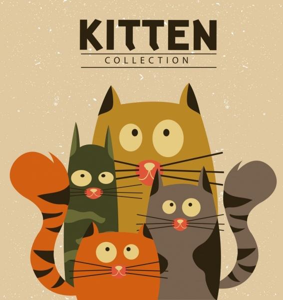 Kucing Latar Belakang Desain Warnawarni Kartunkartun