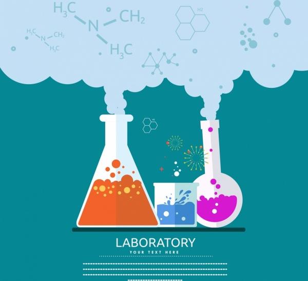 Laboratorium Percobaan Banner Reaksi Kimia Ikonvektor