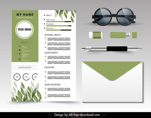 Download 360+ royalty free green icon resume vector. Personnel Resume Template Green White Leaves Decor Vector Misc Free Vector Free Download