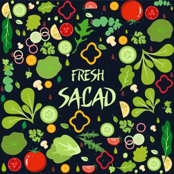 Latar Belakang Salad Sayuran Segar Ikon Desain Warnawarni