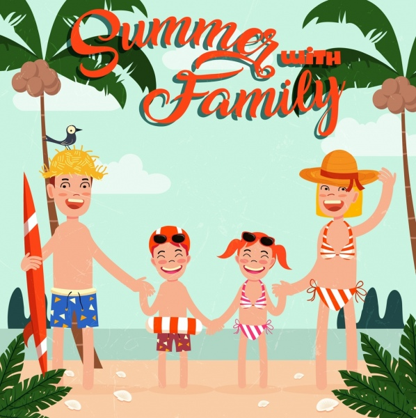 Musim Panas Perjalanan Banner Keluarga Pantai Ikon Kartun