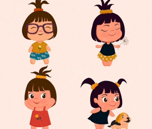 Tiny Girls Icons Collection Cute Colored Cartoon Design Vector