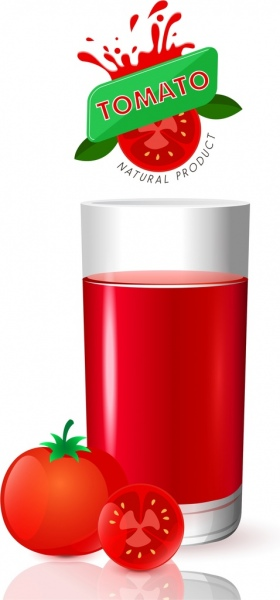 Tomato Juice Advertising Red Fruits Glass Logo Decoration Vector Trust To Nature Free Vector