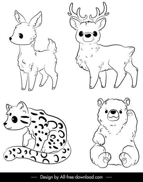Gambar Hitam Putih Hewan : gambar, hitam, putih, hewan, Hewan, Hitam, Putih, Digambar, Tangan, Sketsa-vektor, Misc-vektor, Gratis, Download