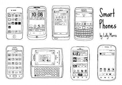 自由手繪的智慧手機向量-向量 Misc-免費向量 免費下載