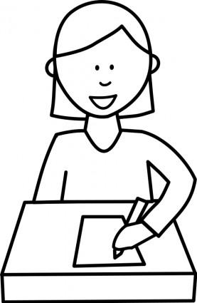 Lve Crivant Schüler Schreiben-Vektor-ClipArt-Kostenlose