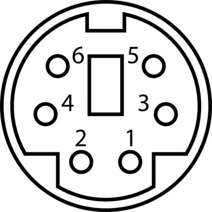 Mini-DIN Stecker Pinbelegung ClipArt-Vektor-ClipArt