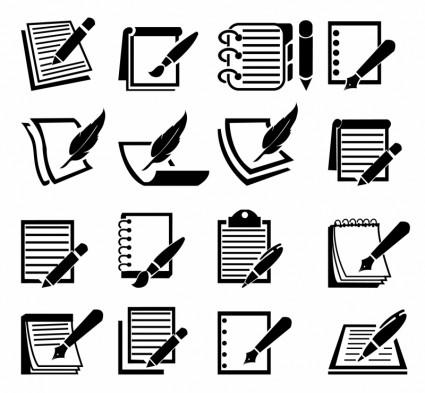 Conjunto De ícones De Caderno E Caneta-ícone De Vetor-Free