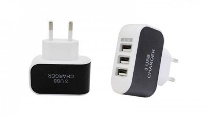 3-Port USB EU Plug Travel Adapter - 4 Colours