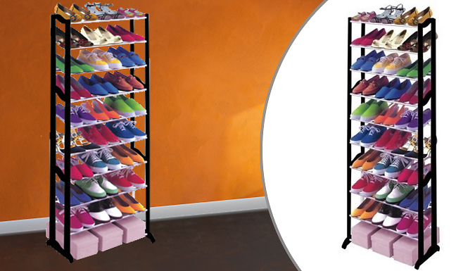 Black Tiered Shoe Rack - 21, 30 or 40 Pairs of Shoes