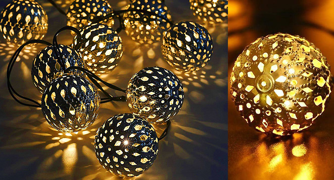 20 x LED Solar Powered Moroccan Ornament Lights