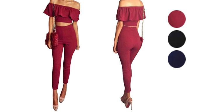 Crop Top Bardot 2-Piece Jumpsuit - 3 Colours and Sizes