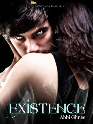Two heterosexuals embracing. Male eyes glow blue. Book cover for Existence by Abbi Glines