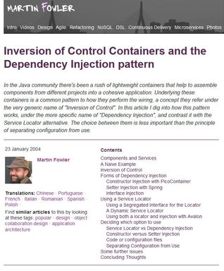 Inversion of Control Containers and the Dependency Injection pattern