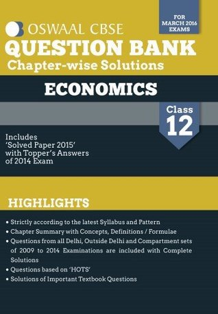 Oswaal CBSE Question Bank With Chapter wise Solutions for Class 12 Economics